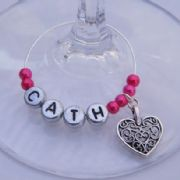 Detailed Heart Personalised Wine Glass Charm